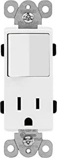 ENERLITES Combination Decorator Paddle Switch and Receptacle Outlet, Residential Grade, 15A/120V Switch, 15A/125V Outlet, UL Listed, 68625-W, White
