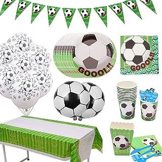 Amycute 146 Pezzi Forniture per Feste di Calcio, Tovaglia Plastificata Calcio, Tovaglioli, Piatti, Tazza e Palloncini per Calcistico Festa a Tema Feste di Compleanno per Bambini