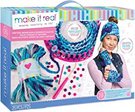 Make It Real - Knitting: Beanie Bun and Gloves. DIY Arts and Crafts Kit Guides Kids to Crochet a Beanie and Fingerless Gloves with Acrylic Yarn