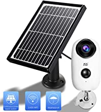 Solar Panel Wireles Camera,1080 HD WiFi Outdoor Security Camera System,Solar Powered Rechargeable Batteries,2-Way Audio,IP65 Waterproof,Night Vision, App Remote, Long Time PIR Motion Record
