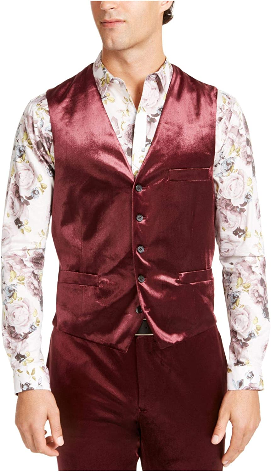 I.N.C. International Concepts INC Mens Burgundy Belted, Single Breasted, Slim Fit Suit Separate 4XL Tall
