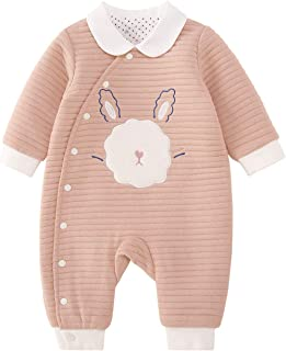 pureborn Baby Jumpsuit Cute Cartoon Onesie Soft Romper Thick Warm Fall Winter Outfit