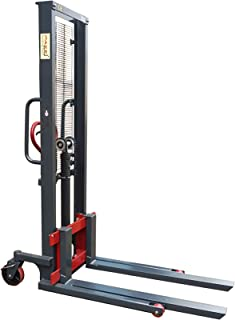 Pake Handling Tools - Manual Stacker, Hand Pump Lift Truck 2200 lbs Capacity for Skid/Single Sided Pallet