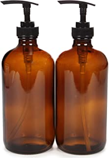 Vivaplex, 2, Large, 16 oz, Empty, Amber Glass Bottles with Black Lotion Pumps