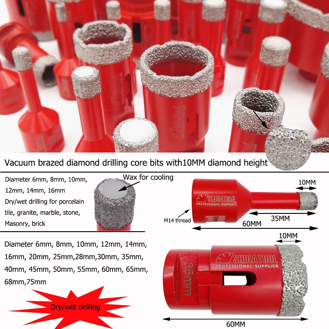 1pc Diamond Core Bits Hole Saw Drilling Bits M14 Thread for Ceramic Tile Marble