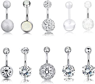 Finrezio 10 PCS 14G Surgical Steel Belly Button Ring Navel Ear Rings CZ Body Piercing Jewelry 10 mm/6 mm Bar