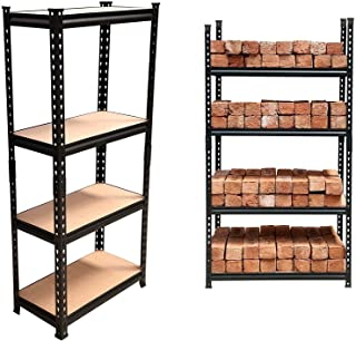 STAR WORK Black Adjustable 4-Shelf Shelving Unit Storage Rack Utility Rack Garage Shelves Display Rack Steel Boltless Rive...