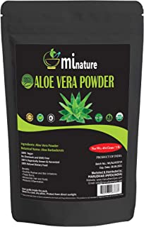 mi nature Aloe Vera Powder (Aloe barbadenis) / 100% Pure, Natural and Organic (454g / (1 lb) / 16 ounces) - Resealable Zip Lock Pouch
