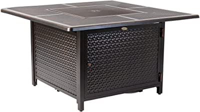 Fire Sense Walkers Square Hammered Aluminum LPG Fire Pit Table | Antique Bronze Finish | 50,000 BTU Output | Uses 20 Pound Propane Tank | Fire Bowl Lid, Vinyl Weather Cover, and Clear Fire Glass