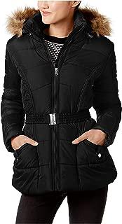 Faux Fur Trim Belted Puffer Coat