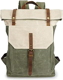 green leather rucksack
