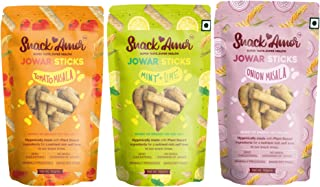 SnackAmor 3 Unique Flavors of Jowar Sticks Multigrain Puffs - Onion Masala, Tomato Masala and Mint and Lime, 100% Vegetari...