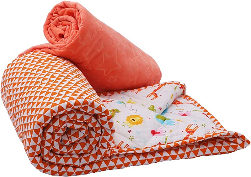 Weighted Blanket For Kids 41 X 60 10 Lbs For 80 To 110 Child Heavy Blanket With Removable Cover Set 100 Cotton Material With Glass Beads Orange Cartoon