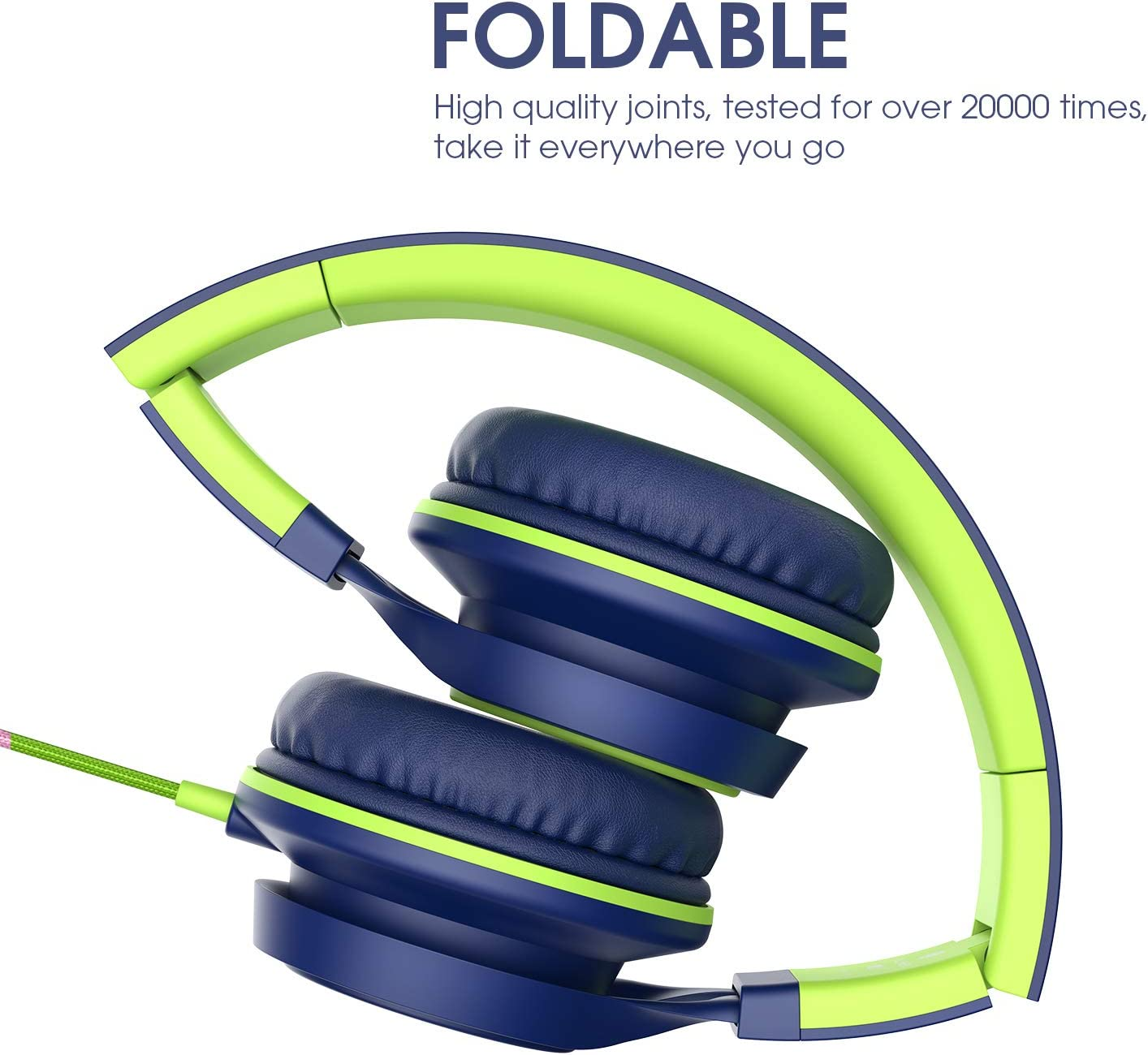 AILIHEN C8 (Upgraded) Headphones with Microphone and Volume Control Folding Lightweight Headset for Cellphones Tablets Smartphones Chromebook Laptop Computer PC Mp3/4 (Blue Green)