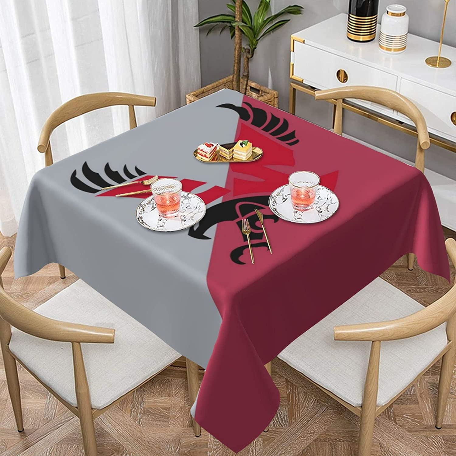 Eastern Washington University Tablecloth Foursquare Decor Desk Oilproof Waterproof Tabletop Cover Cloth Table Cover for Buffet Party Dinner Picnic Kitchen