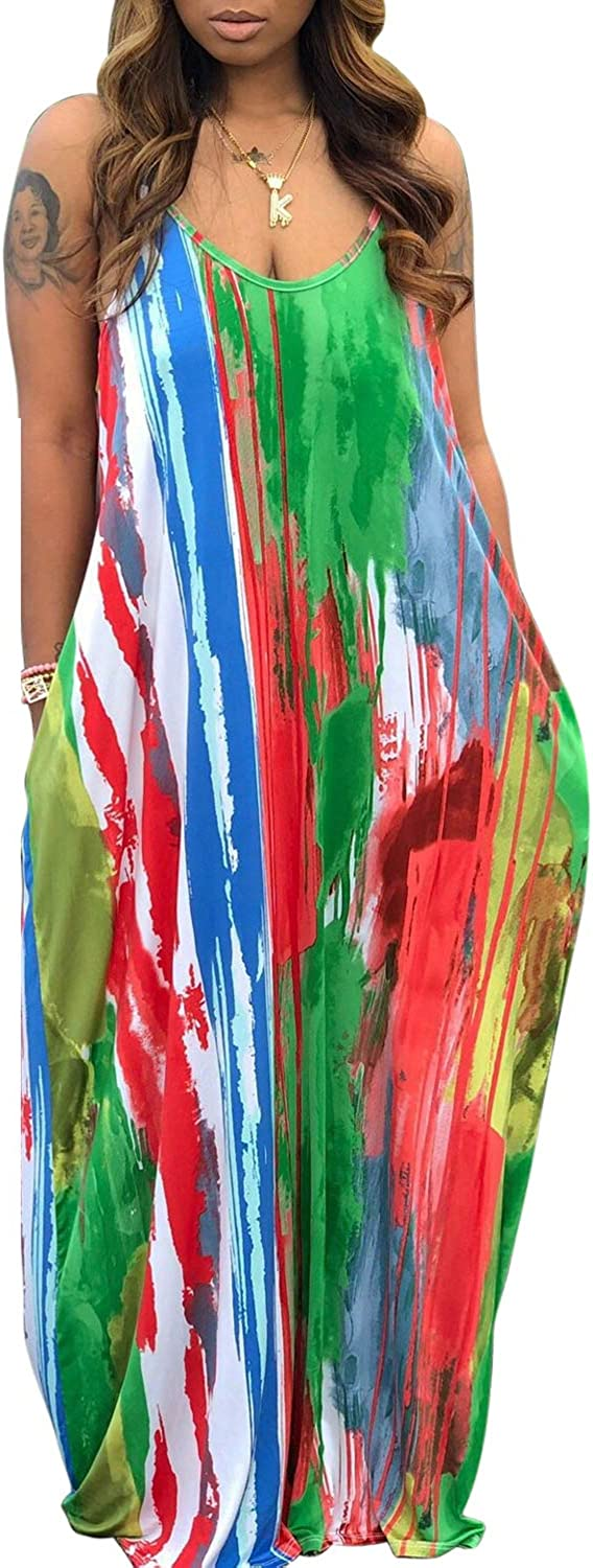 Women's Summer Casual Loose Dresses Sleeveless Floral Plus Size Beach Cover Up Long Maxi Dress with Pockets