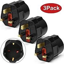 iVoler [3-Unidades] Adaptadores de Viaje Compactos para Inglaterra - Enchufe de Viaje Plug Shuko EU a UK GB Inglaterra - 2 Patas Europa hacia 3 Patas RU - Negro