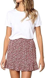 f46193b202 Women Printed Vintage Floral Skirt Casual Retro High Waist Evening Short  Skirt