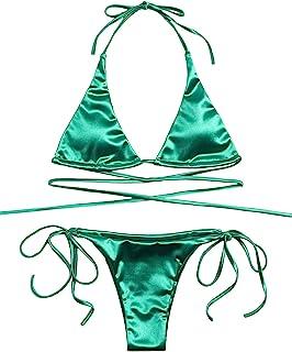 SOLY HUX Women's Metallic Halter Top Two Piece Swimsuit Tie Side Triangle Bikini