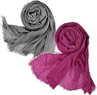 Wobe - Bufanda de cáñamo de algodón suave para mujer, 3 u