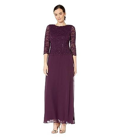 Alex Evenings Long Sequin Lace Mock Dress (Deep Plum) Women