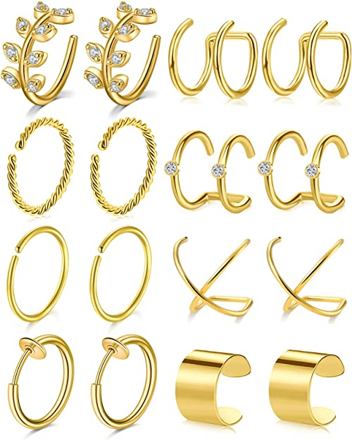 Thunaraz 5Pairs CZ Ear Cuff Earring Stainless Steel Hoop Earring Non-Piercied Mix Colors