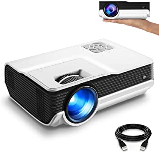 "FunLites 4600lux Portable Video Projector,Supported 1080P Outdoor Movie Projector with 200"" Display 50,000 Hrs, LED HD Pro..."