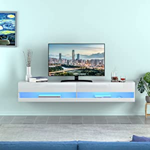 AUXSOUL Floating LED TV Stand - High Glossy Wall Mounted Entertainment Center for 80 Inch TV Screen - Modern TV Cabinet - RGB LED Light Media Console Table - Floating TV Stand Shelf (White)