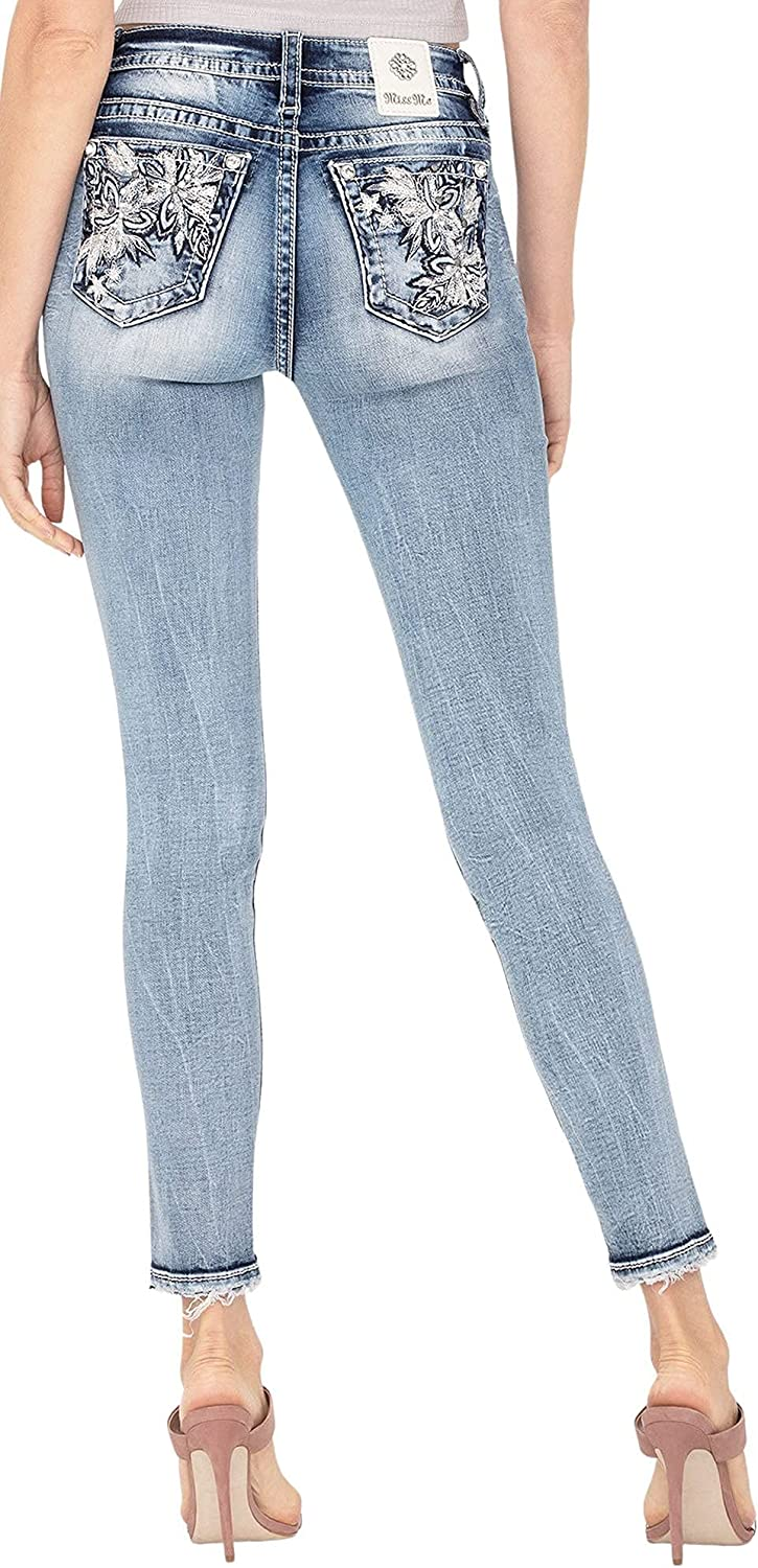Miss Me Women's Mid-Rise Hailey Skinny Jeans with Embossed Tropical Designs