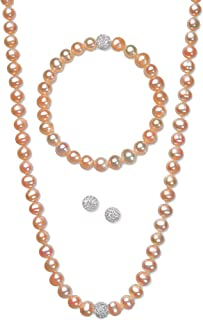 Regalia by Ulti Ramos Cultured Freshwater Pearl (7mm) & Crystal Sterling Silver .925 Jewelry Set (Orange/Champagne)