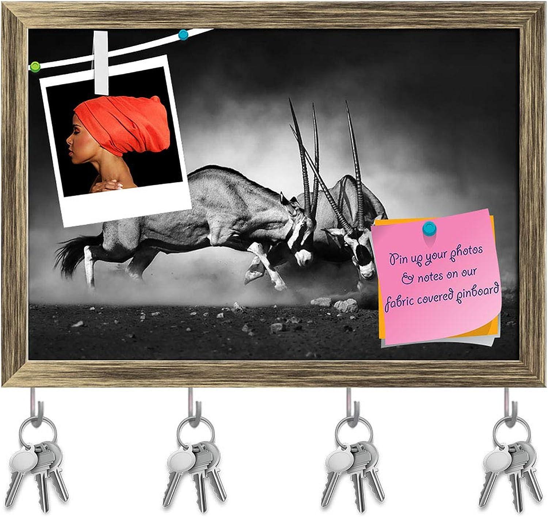 Artzfolio Gemsbok Dual Key Holder Hooks   Notice Pin Board   Antique golden Frame 14.3 X 10Inch