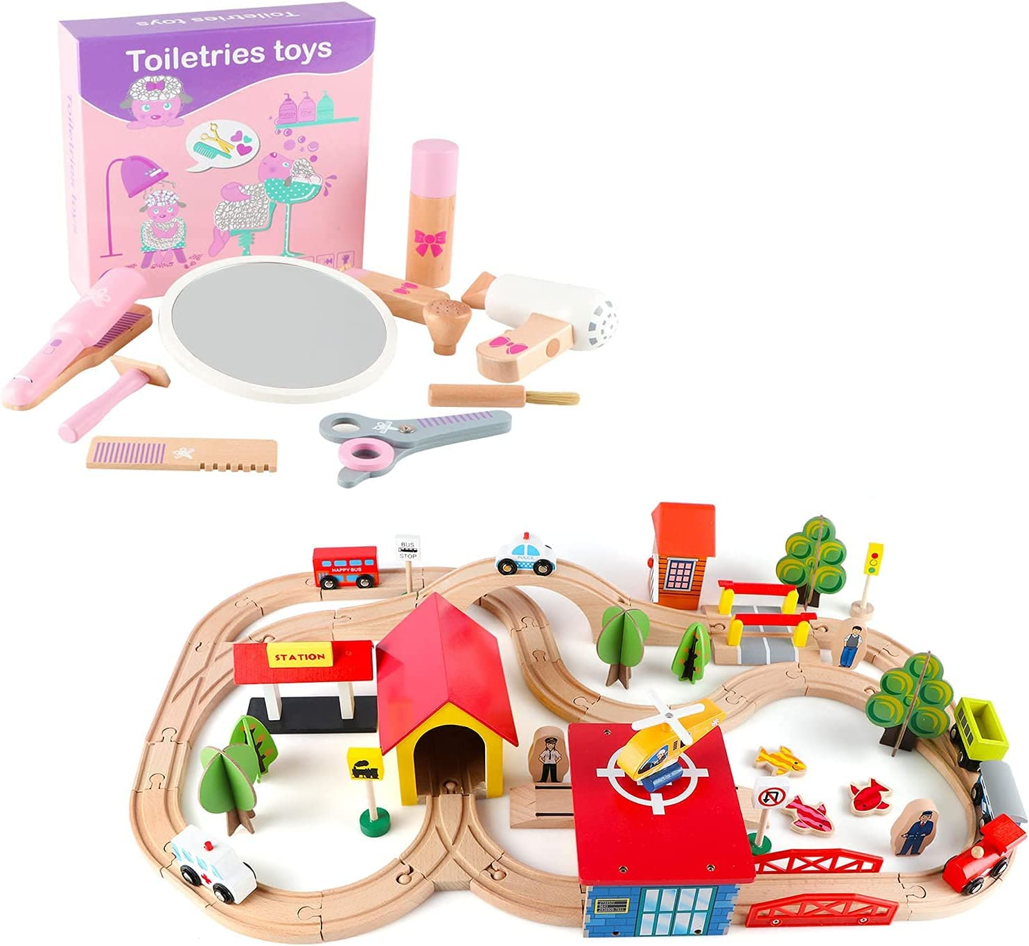 Qilay Wooden Train Sets 69 lowest price 5 popular Tracks - Toys Pcs Girls