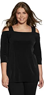 Woman Within Women's Plus Size Best Dressed Essential Cold-Shoulder Tee