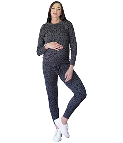 Ingrid & Isabel Maternity Printed Sweatshirt (Grey Tonal Leopard) Women