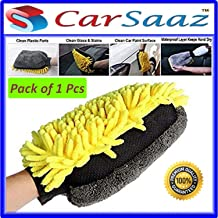 CarSaaz Super Large Size (25x18 cm) Extra Thick Waterproof Dual Sided Multipurpose Car Home Office Cleaning Microfiber Glove Mitt with Waterproofing Layer