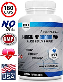 #1 Rated L-Arginine Cardio Max, 1500mg Cardio Support Blend Plus L-Citrulline, Vitamins Minerals Supports Cardio Health, Blood Pressure, Cholesterol, Energy, Nitric Oxide, One Bottle 180 Caps