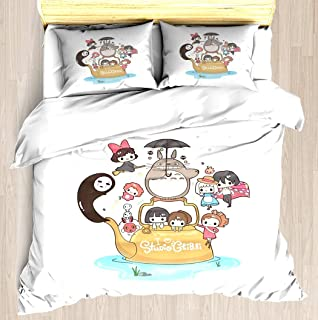 NTCBED Studio Ghibli - Duvet Cover Set Soft Comforter Cover Pillowcase Bed Set Unique Printed Floral Pattern Design Duvet Covers Blanket Cover Twin/XL Size