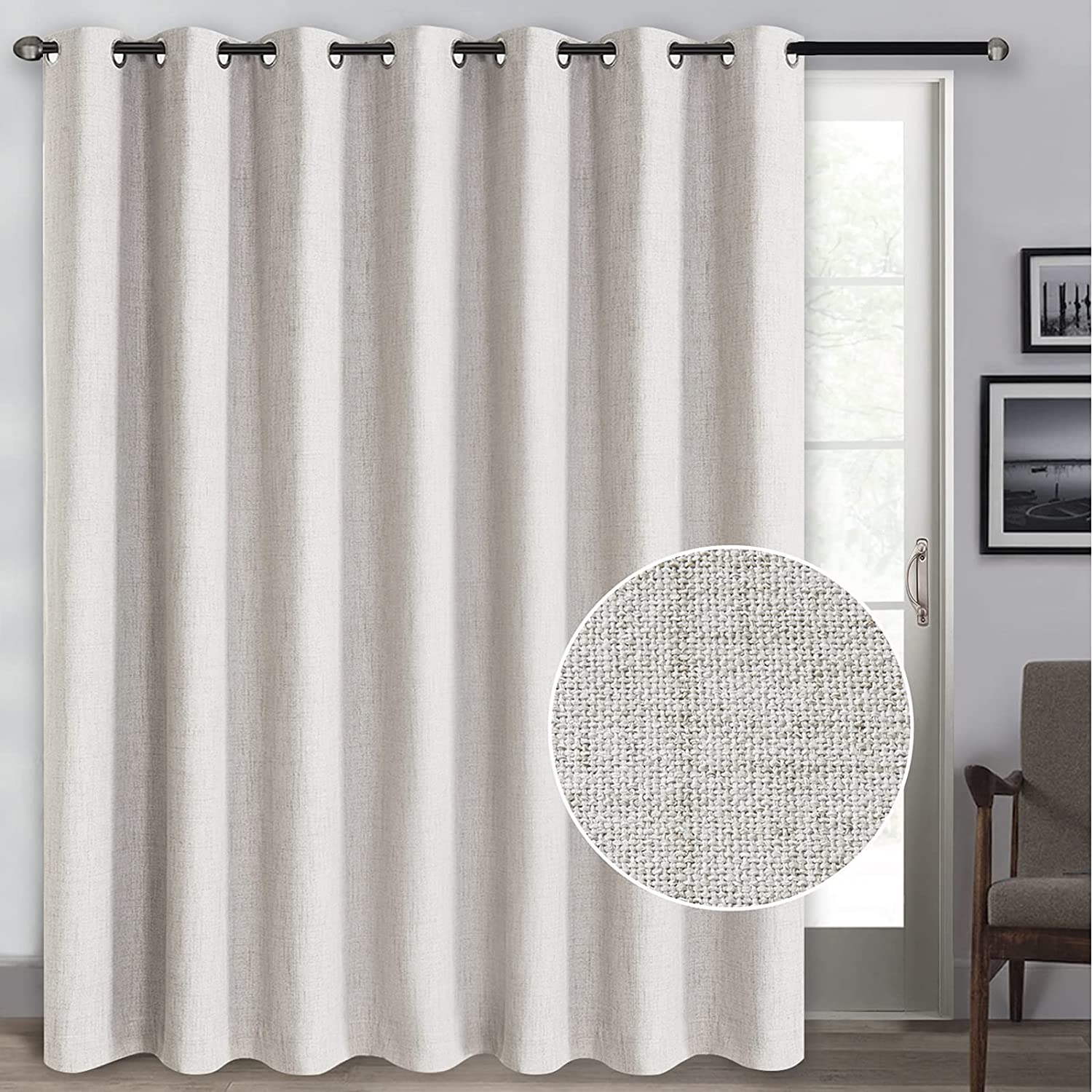 Rose Home Fashion 100% Blackout Curtains, Sliding Door Curtains for Living Room Linen Textured Patio Door Curtains Drapes Extra Wide Grommet Curtain Panel-1 Panel (100x84 Beige)