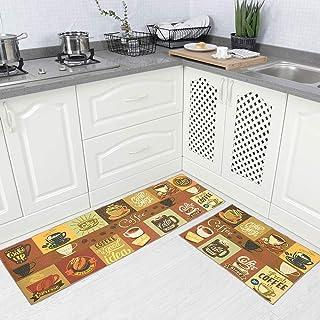 "Carvapet 2 Piece Non-Slip Kitchen Rug TPR Anti-Slip Backing Mat for Doorway Bathroom Runner Rug Set, Coffee Design (17""x48""+17""x24"")"