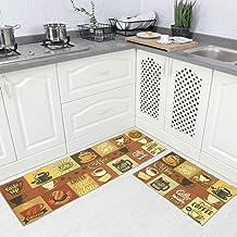Carvapet 2 Pieces Non-Slip Kitchen Rug TPR Non-Skid Backing Mat for Doorway Bathroom Runner Rug Set, Coffee Design (17