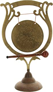 Vintage Etched Brass India Gong With Wood Striker