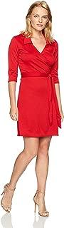 Women's Petite 3/4 Sleeve Fauxwrap Dress