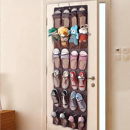 QH-Shop Porte-Chaussures Sac de Rangement, Porte-Chaussures Sac Tissu en Maille de Nylon Suspendre derrière de Porte 24 Poches avec 3 Crochets Brun