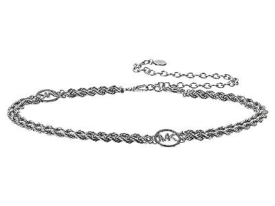 MICHAEL Michael Kors Pave Logo Chain Belt (Silver) Women