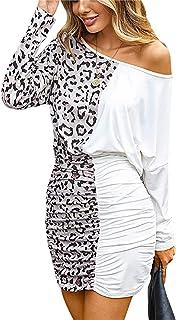 Soweilan - Vestito sexy da donna, con stampa leopardo, a maniche lunghe, a pieghe, colore: bianco