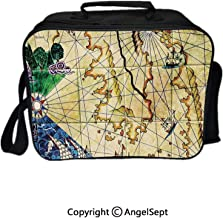 Hot Sale Lunch Container,Old Nautical Chart Ancient Map with Historical Territories Geographical Illustration Beige Navy 8.3inch,Lunch Bag Large Cooler Tote Bag For Men, Women