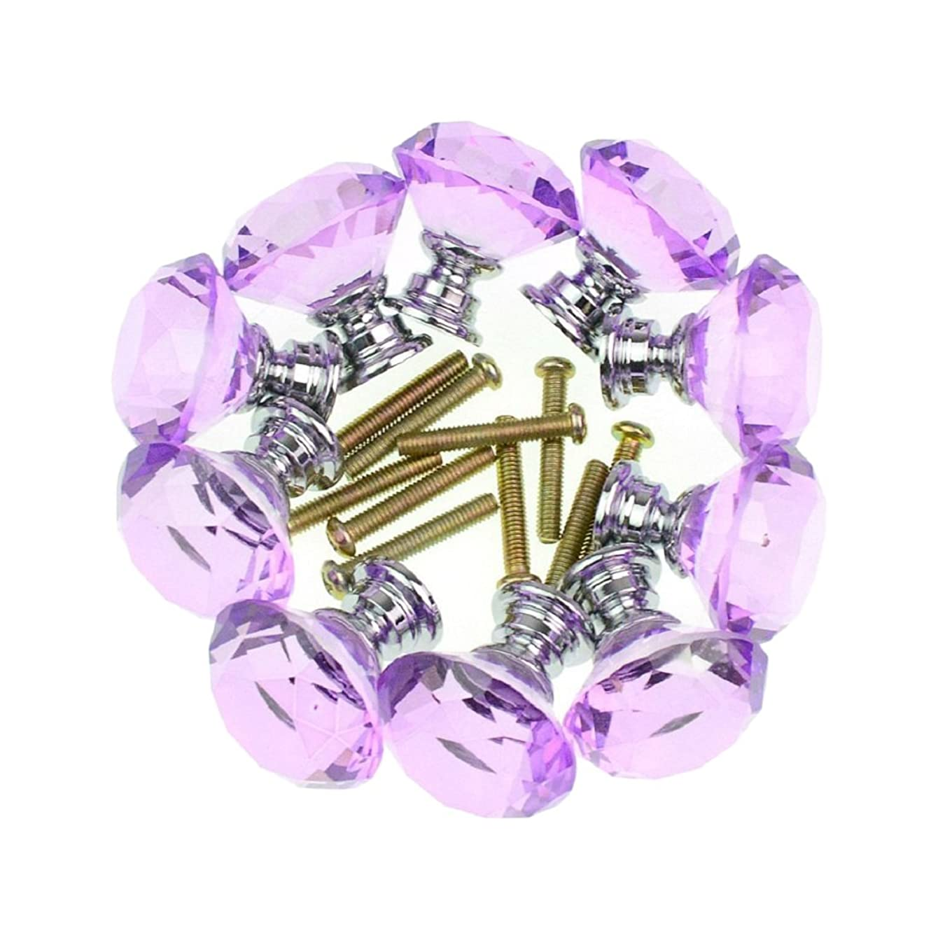 Drawer Pulls , YIFAN Set of 10 Door Knobs 30mm Diamond Shape Glass Handles for Home Office Cabinet Cupboard Bonus Silver Screws DIY- Lavender