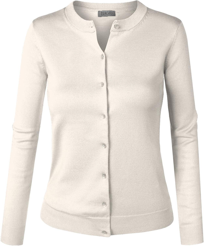 BIADANI Women Button Down Long Sleeve Soft V-Neck Cardigan Sweater