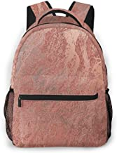 HUNANing Fashion Leisure Backpack for Girls and Boys, College Student School Laptop Daypack Teen Lightweight Casual Bookbags, High Capacity Travel Bag - Abstract Coral Copper Rose Gold VIP Marble