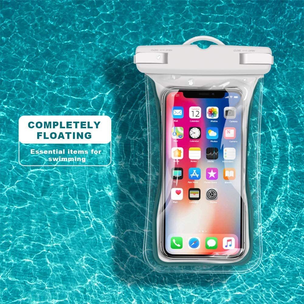 Waterproof Phone Pouch White Clear TPU Universal Water Proof Cell Phone Pouch Floating Dry Bag Waterproof Case,iPhone 12 11 Pro Max XS Max XR X 8 7 6S Plu